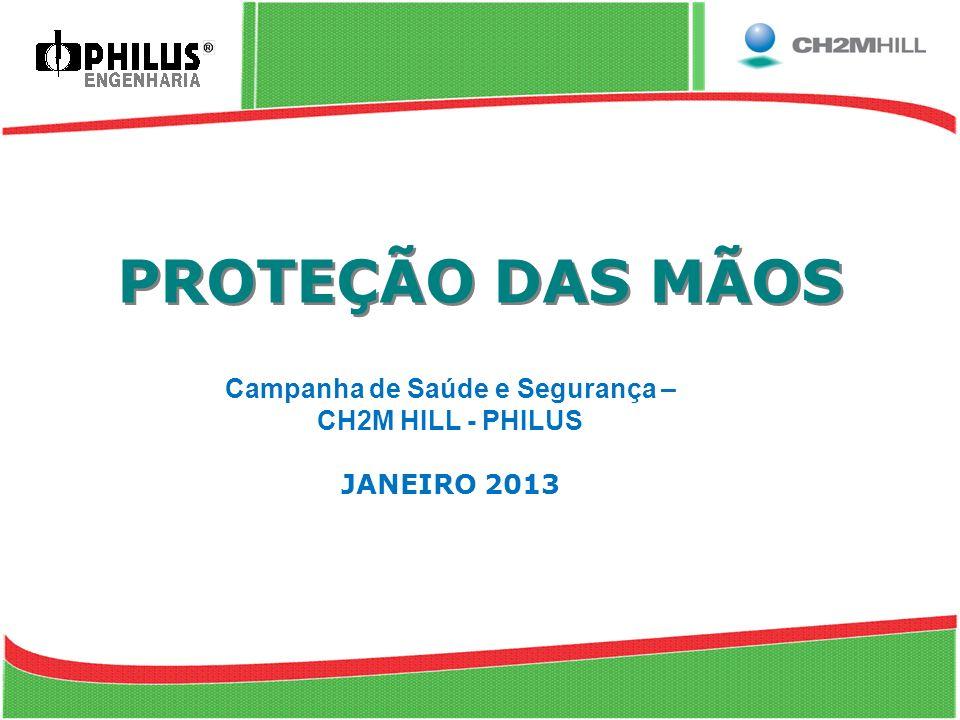 PROTEÇÃO DAS MÃOS Campanha de Saúde e Segurança – CH2M HILL - PHILUS JANEIRO 2013