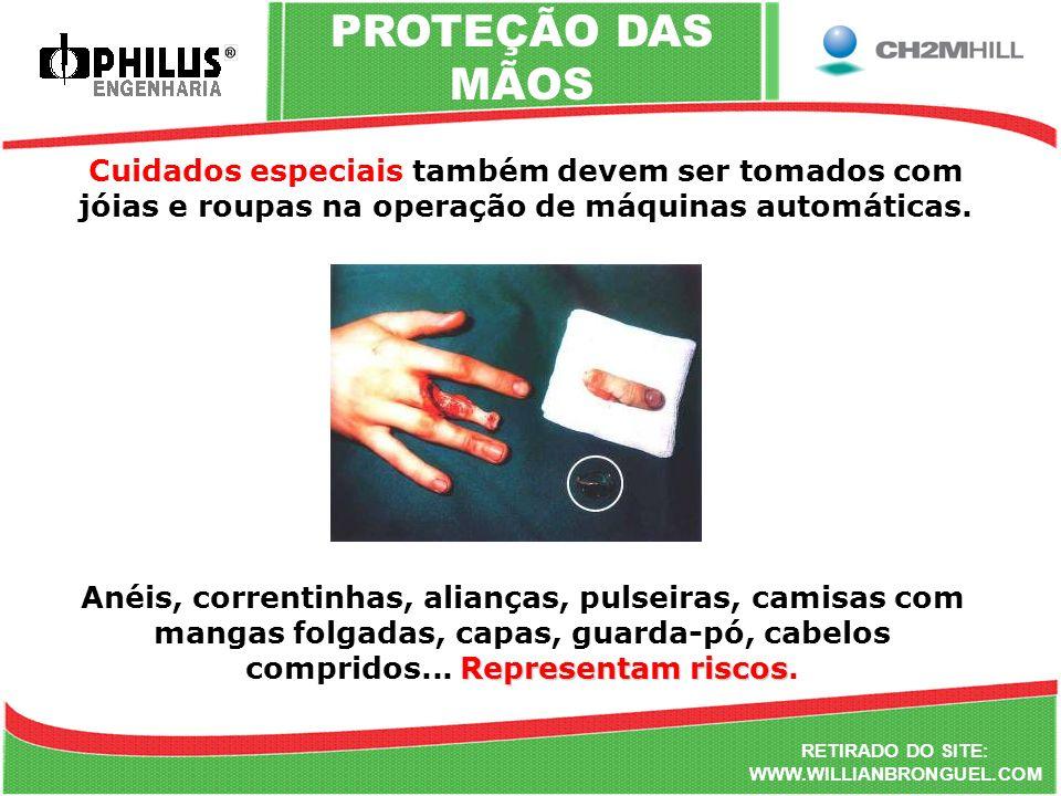 RETIRADO DO SITE: WWW.WILLIANBRONGUEL.COM PROTEÇÃO DAS MÃOS Cuidados especiais também devem ser tomados com jóias e roupas na operação de máquinas aut