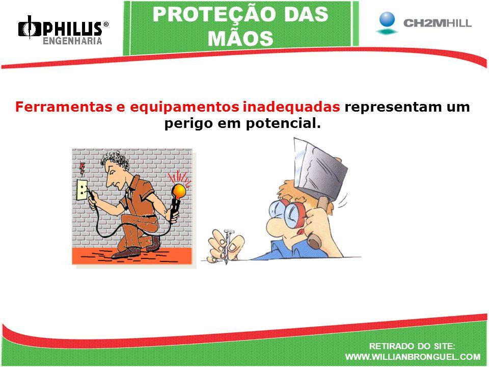 Ferramentas e equipamentos inadequadas representam um perigo em potencial. RETIRADO DO SITE: WWW.WILLIANBRONGUEL.COM PROTEÇÃO DAS MÃOS