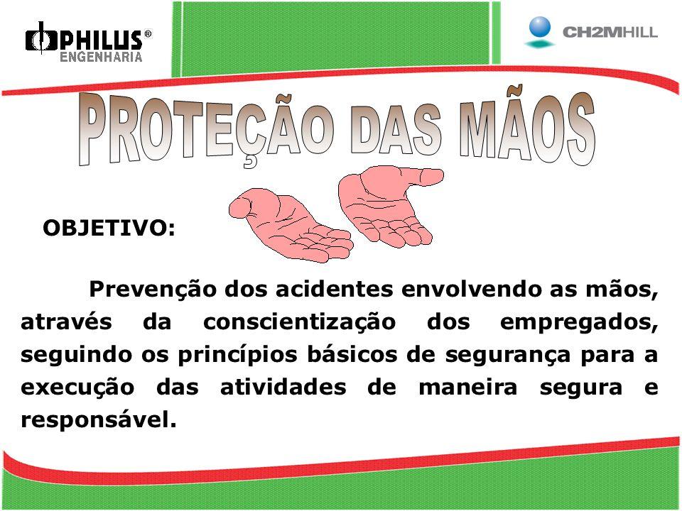 OBJETIVO: Prevenção dos acidentes envolvendo as mãos, através da conscientização dos empregados, seguindo os princípios básicos de segurança para a ex
