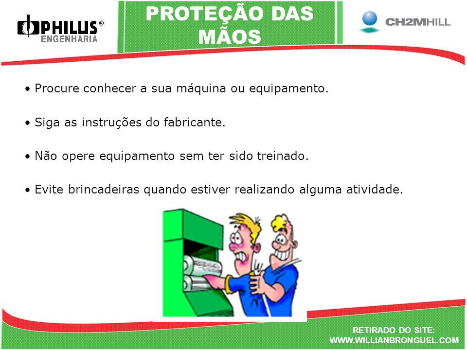 RETIRADO DO SITE: WWW.WILLIANBRONGUEL.COM PROTEÇÃO DAS MÃOS Procure conhecer a sua máquina ou equipamento. Siga as instruções do fabricante. Não opere
