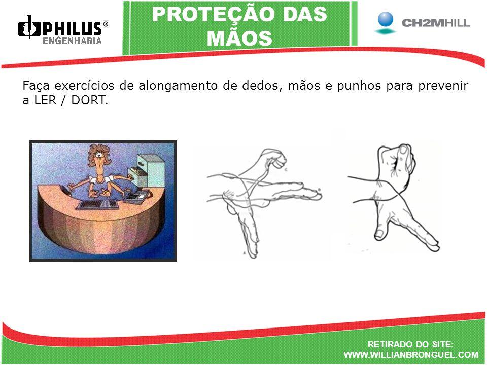 Faça exercícios de alongamento de dedos, mãos e punhos para prevenir a LER / DORT. RETIRADO DO SITE: WWW.WILLIANBRONGUEL.COM PROTEÇÃO DAS MÃOS