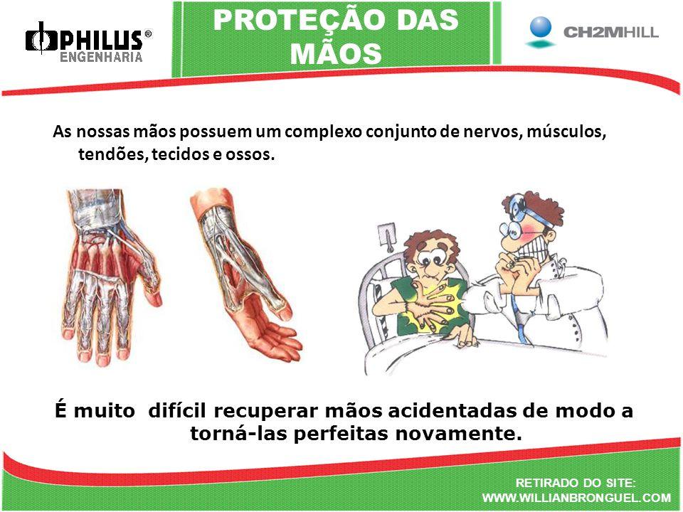 RETIRADO DO SITE: WWW.WILLIANBRONGUEL.COM PROTEÇÃO DAS MÃOS As nossas mãos possuem um complexo conjunto de nervos, músculos, tendões, tecidos e ossos.