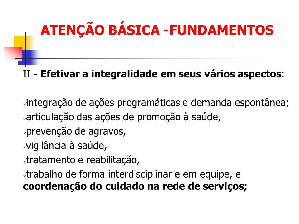 ATENÇÃO BÁSICA -FUNDAMENTOS II - Efetivar a integralidade em seus vários aspectos: integração de ações programáticas e demanda espontânea; articulação