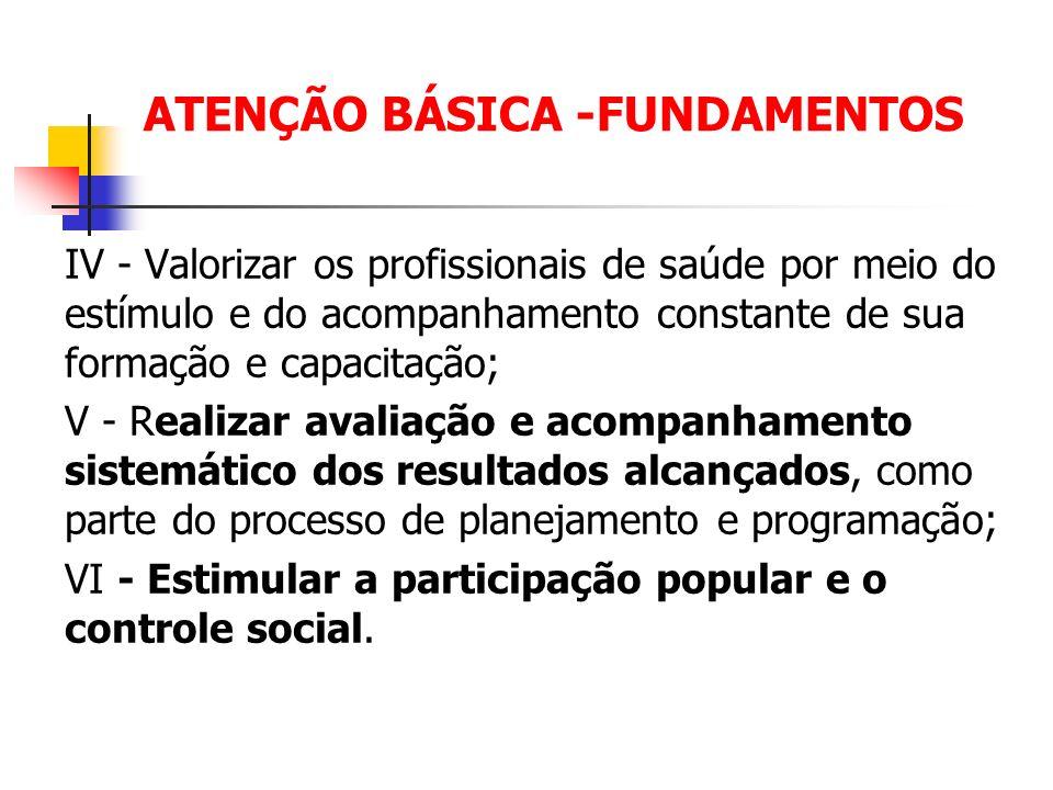ATENÇÃO BÁSICA -FUNDAMENTOS IV - Valorizar os profissionais de saúde por meio do estímulo e do acompanhamento constante de sua formação e capacitação;