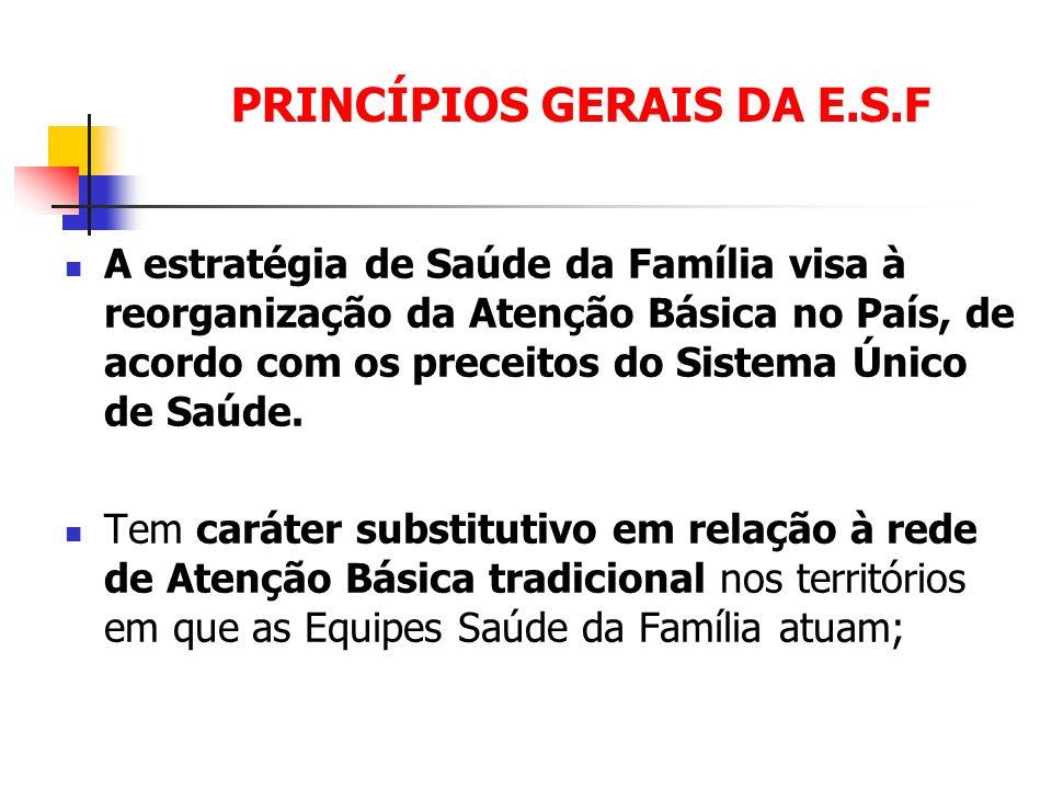 PRINCÍPIOS GERAIS DA E.S.F A estratégia de Saúde da Família visa à reorganização da Atenção Básica no País, de acordo com os preceitos do Sistema Únic