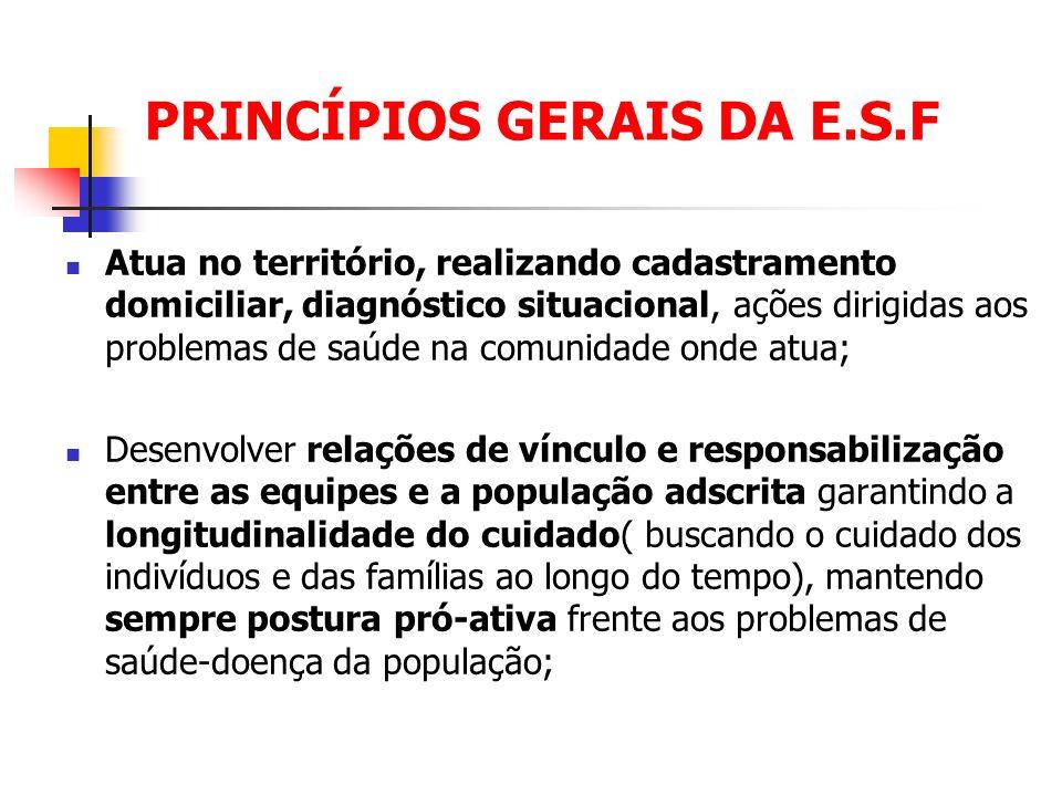 PRINCÍPIOS GERAIS DA E.S.F Atua no território, realizando cadastramento domiciliar, diagnóstico situacional, ações dirigidas aos problemas de saúde na