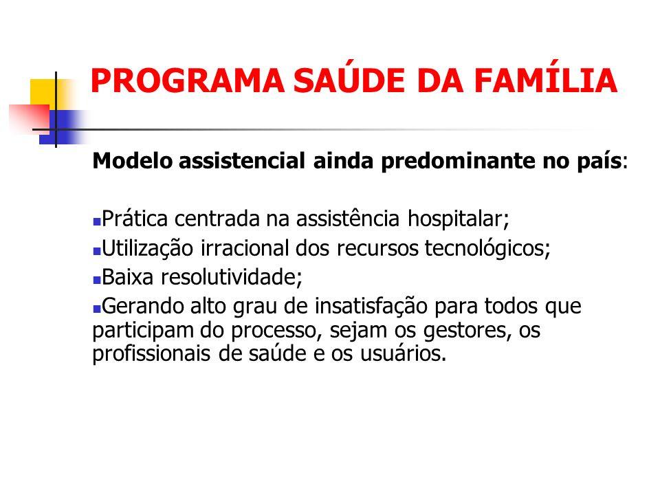 PROGRAMA SAÚDE DA FAMÍLIA Visando a reorientação do modelo assistencial brasileiro, o Ministério da Saúde assumiu, a partir de 1994, a implantação do Programa Saúde da Família – PSF.