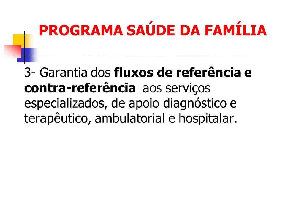 PROGRAMA SAÚDE DA FAMÍLIA 3- Garantia dos fluxos de referência e contra-referência aos serviços especializados, de apoio diagnóstico e terapêutico, am