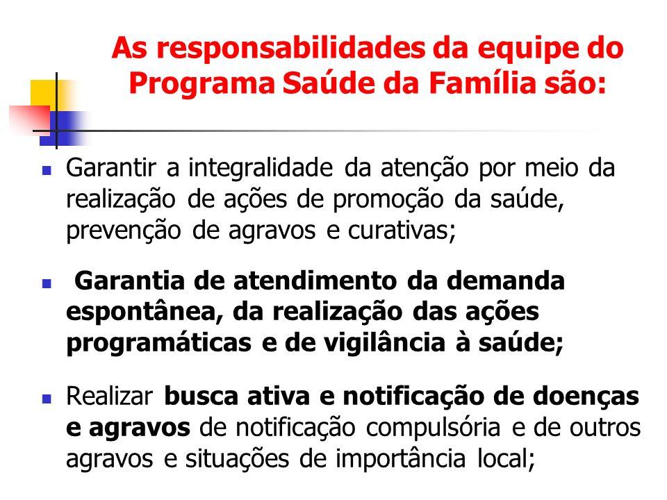 As responsabilidades da equipe do Programa Saúde da Família são: Garantir a integralidade da atenção por meio da realização de ações de promoção da sa