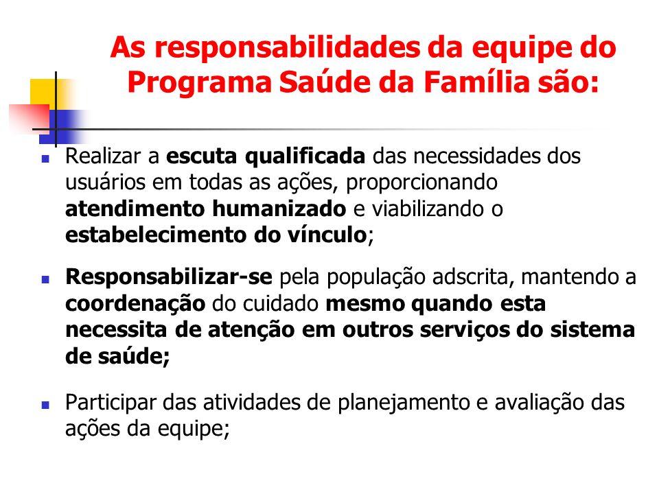 As responsabilidades da equipe do Programa Saúde da Família são: Realizar a escuta qualificada das necessidades dos usuários em todas as ações, propor