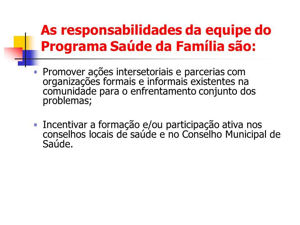 As responsabilidades da equipe do Programa Saúde da Família são: Promover ações intersetoriais e parcerias com organizações formais e informais existe