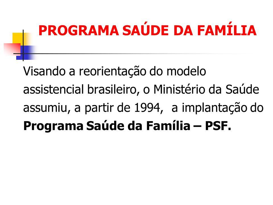 PROGRAMA SAÚDE DA FAMÍLIA Visando a reorientação do modelo assistencial brasileiro, o Ministério da Saúde assumiu, a partir de 1994, a implantação do