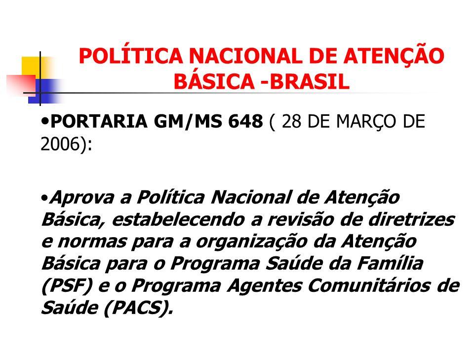 POLÍTICA NACIONAL DE ATENÇÃO BÁSICA -BRASIL PORTARIA GM/MS 648 ( 28 DE MARÇO DE 2006): Aprova a Política Nacional de Atenção Básica, estabelecendo a r