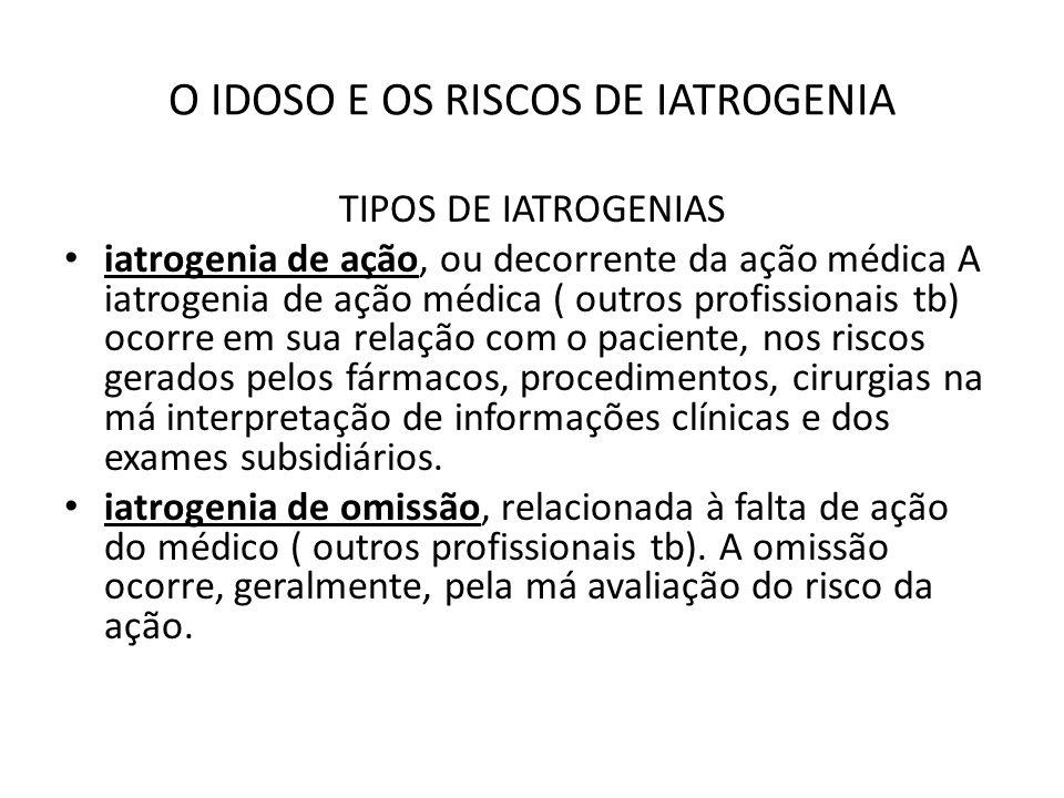 O IDOSO E OS RISCOS DE IATROGENIA TIPOS DE IATROGENIAS iatrogenia de ação, ou decorrente da ação médica A iatrogenia de ação médica ( outros profissio