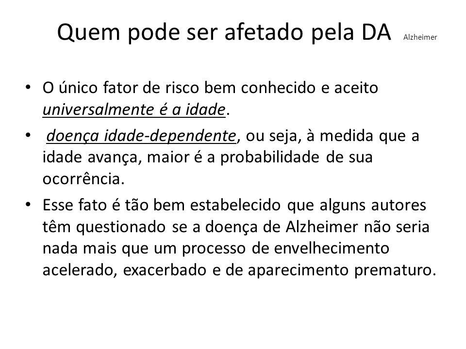 Fatores que pode dar origem ao DA Alzheimer Idade: Cerca de uma pessoa entre vinte, acima dos 65 anos de idade, e menos de uma pessoa entre mil, com menos de 65 anos, têm a doença de Alzheimer.