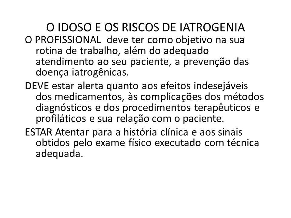 O IDOSO E OS RISCOS DE IATROGENIA O PROFISSIONAL deve ter como objetivo na sua rotina de trabalho, além do adequado atendimento ao seu paciente, a pre