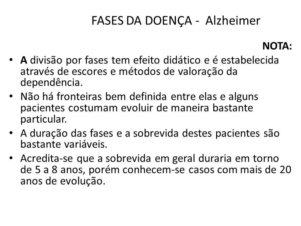 FASES DA DOENÇA - Alzheimer NOTA: A divisão por fases tem efeito didático e é estabelecida através de escores e métodos de valoração da dependência. N