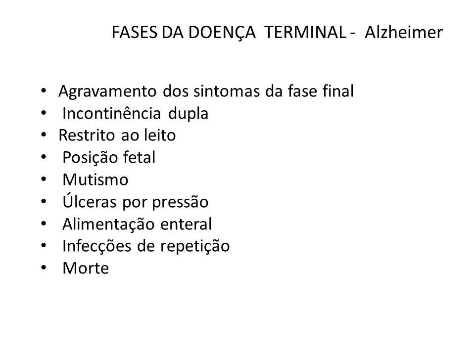 FASES DA DOENÇA TERMINAL - Alzheimer Agravamento dos sintomas da fase final Incontinência dupla Restrito ao leito Posição fetal Mutismo Úlceras por pr