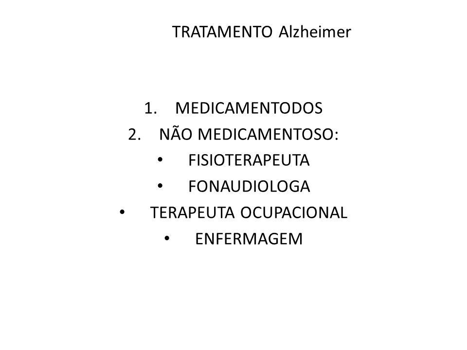 TRATAMENTO Alzheimer 1.MEDICAMENTODOS 2.NÃO MEDICAMENTOSO: FISIOTERAPEUTA FONAUDIOLOGA TERAPEUTA OCUPACIONAL ENFERMAGEM