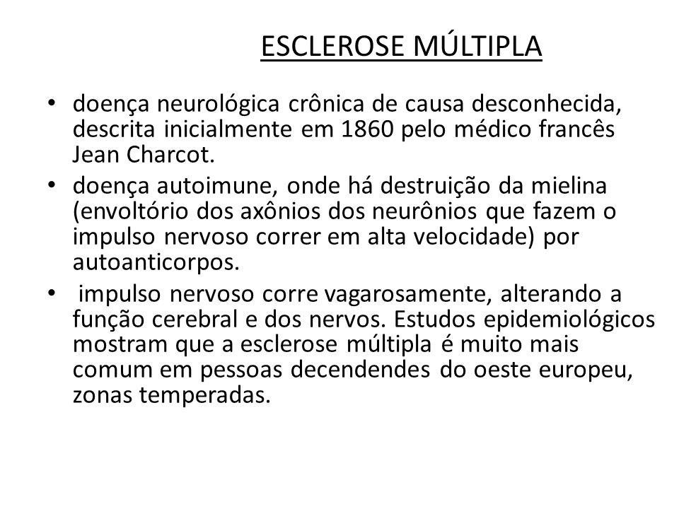 ESCLEROSE MÚLTIPLA Características É uma doença desmielinizante, isto é, leva à destruição da bainha de mielina que recobre e isola as fibras nervosas do Sistema Nervoso Central (principalmente o cérebro, o nervo óptico e a medula espinhal).