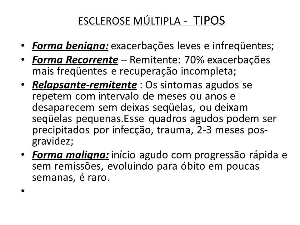 ESCLEROSE MÚLTIPLA - TIPOS Forma benigna: exacerbações leves e infreqüentes; Forma Recorrente – Remitente: 70% exacerbações mais freqüentes e recupera