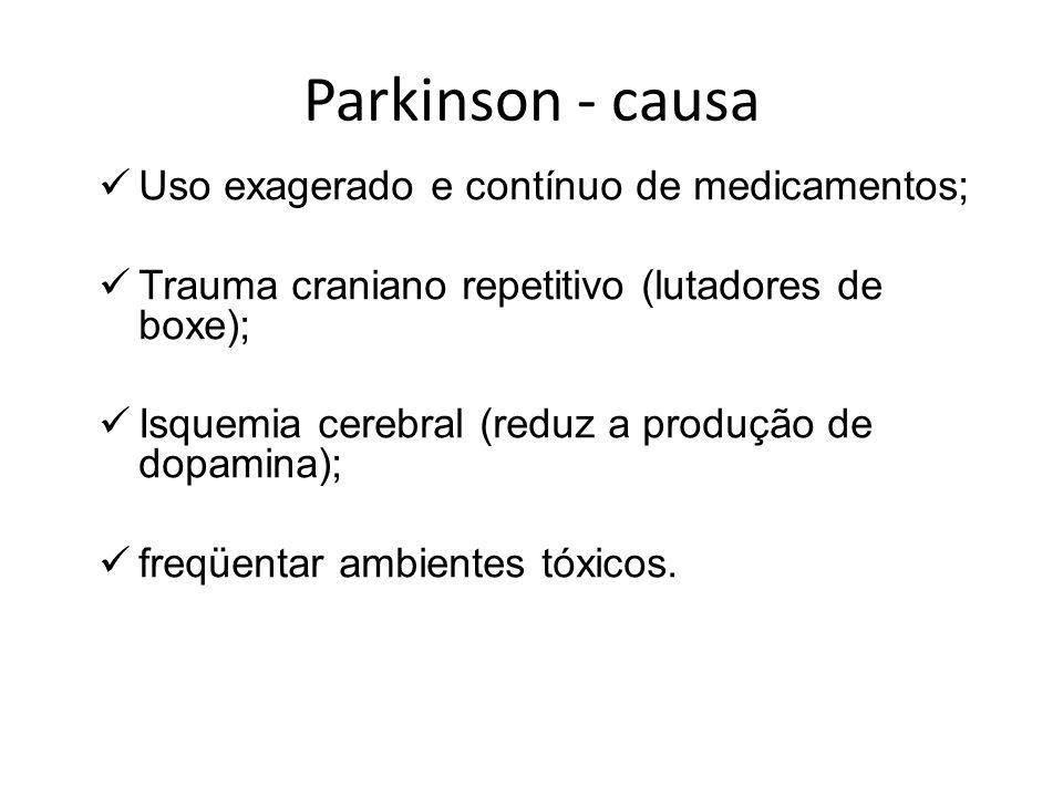 Parkinson - fisiopatologia Perda dos neurônios pigmentados, (substância negra); O fluxo sangüíneo é reduzido e há uma alta prevalência de demência; Causa é desconhecida; Mais comum em pessoas na Sexta década de vida.