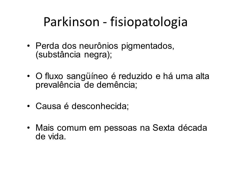 Parkinson - fisiopatologia Perda dos neurônios pigmentados, (substância negra); O fluxo sangüíneo é reduzido e há uma alta prevalência de demência; Ca