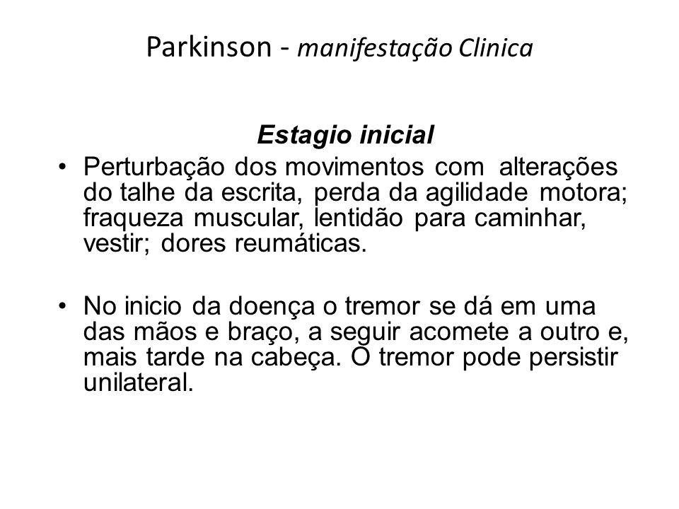 Parkinson - manifestação Clinica Estagio inicial Perturbação dos movimentos com alterações do talhe da escrita, perda da agilidade motora; fraqueza mu