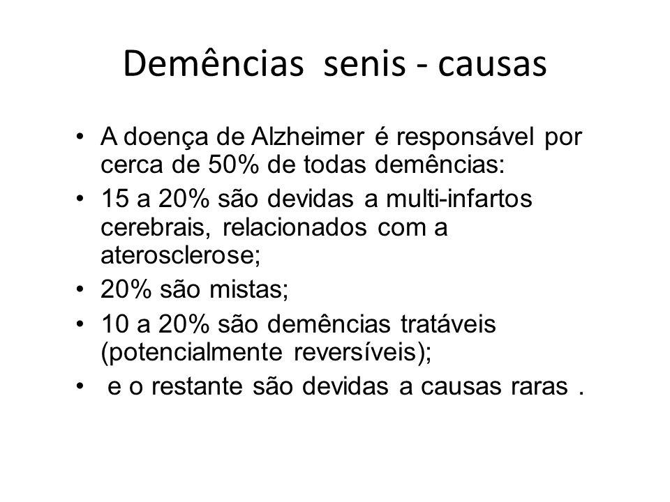Demências senis - causas A doença de Alzheimer é responsável por cerca de 50% de todas demências: 15 a 20% são devidas a multi-infartos cerebrais, rel