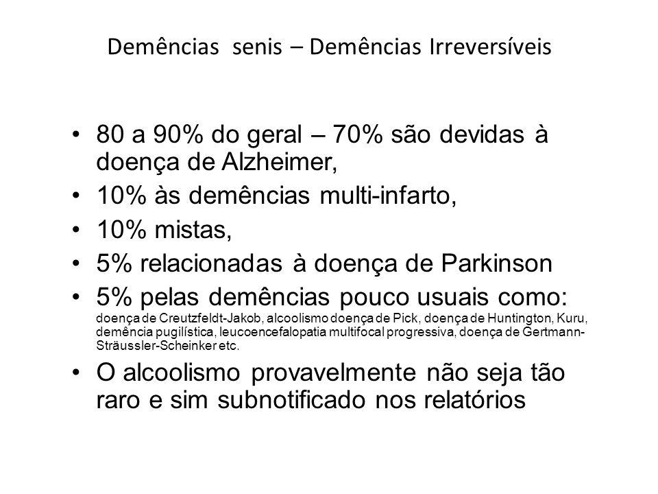 Demências senis – Demências Irreversíveis 80 a 90% do geral – 70% são devidas à doença de Alzheimer, 10% às demências multi-infarto, 10% mistas, 5% re