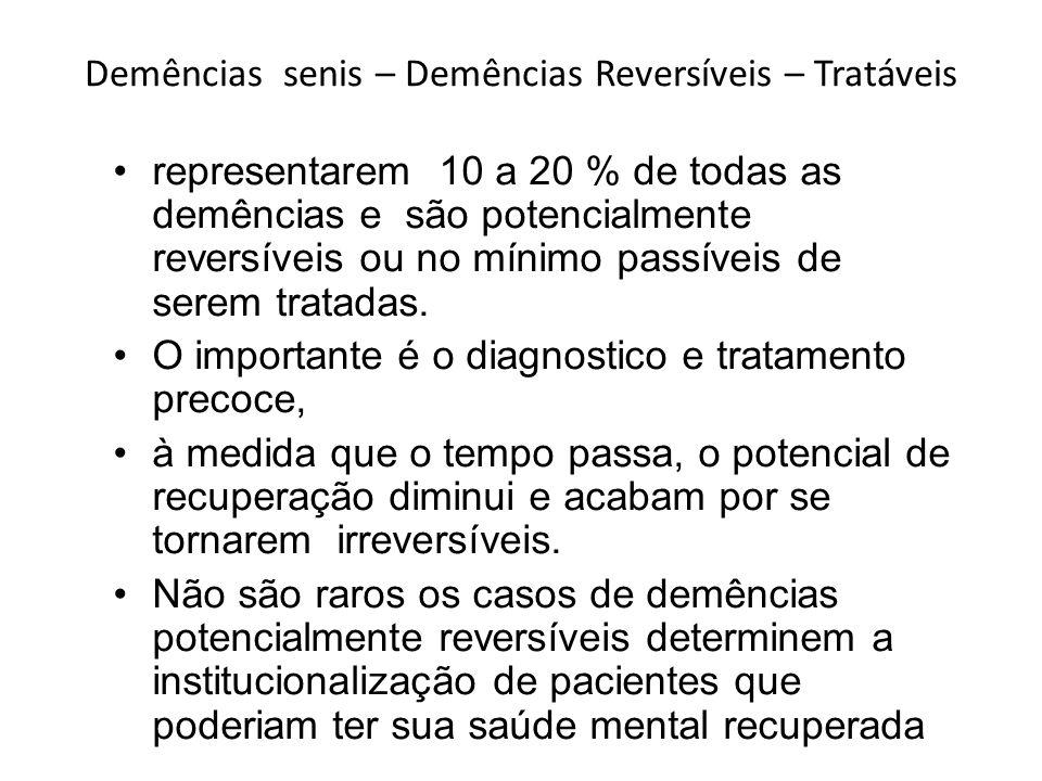 Demências senis – Demências Reversíveis – Tratáveis representarem 10 a 20 % de todas as demências e são potencialmente reversíveis ou no mínimo passív