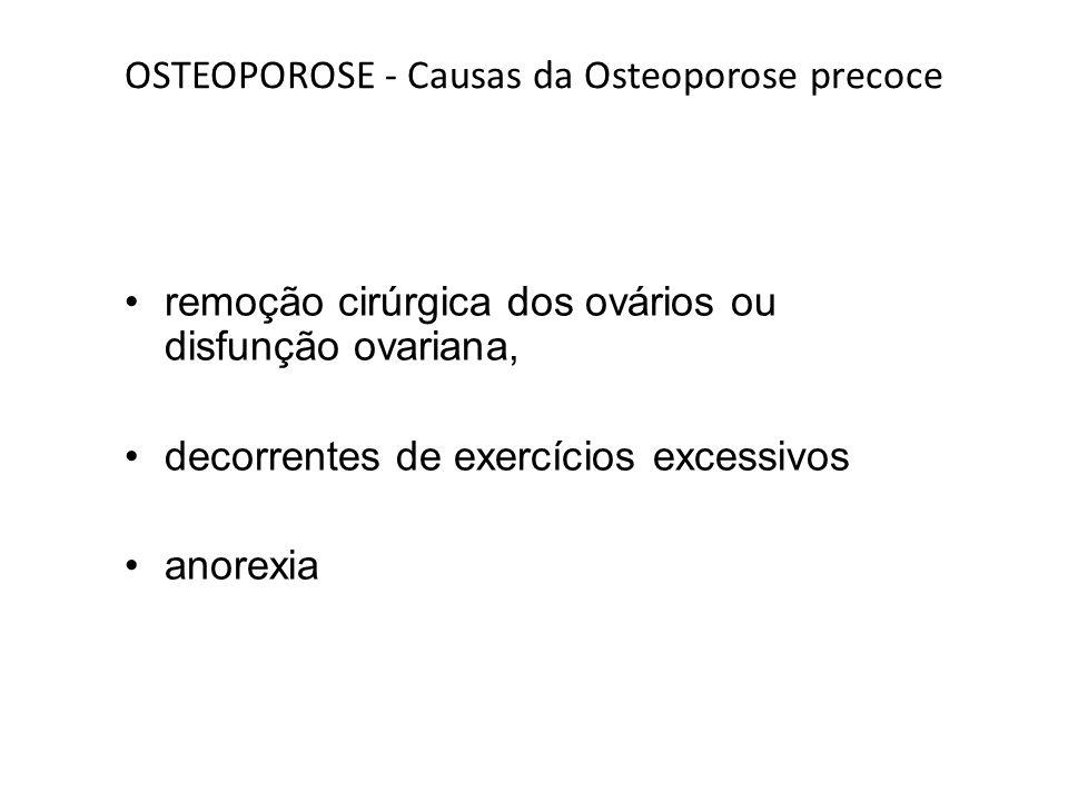 OSTEOPOROSE - Causas da Osteoporose precoce remoção cirúrgica dos ovários ou disfunção ovariana, decorrentes de exercícios excessivos anorexia