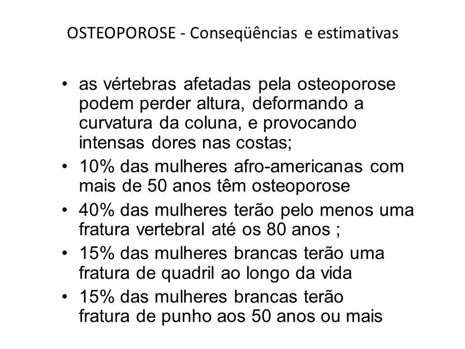 OSTEOPOROSE - Conseqüências e estimativas as vértebras afetadas pela osteoporose podem perder altura, deformando a curvatura da coluna, e provocando i