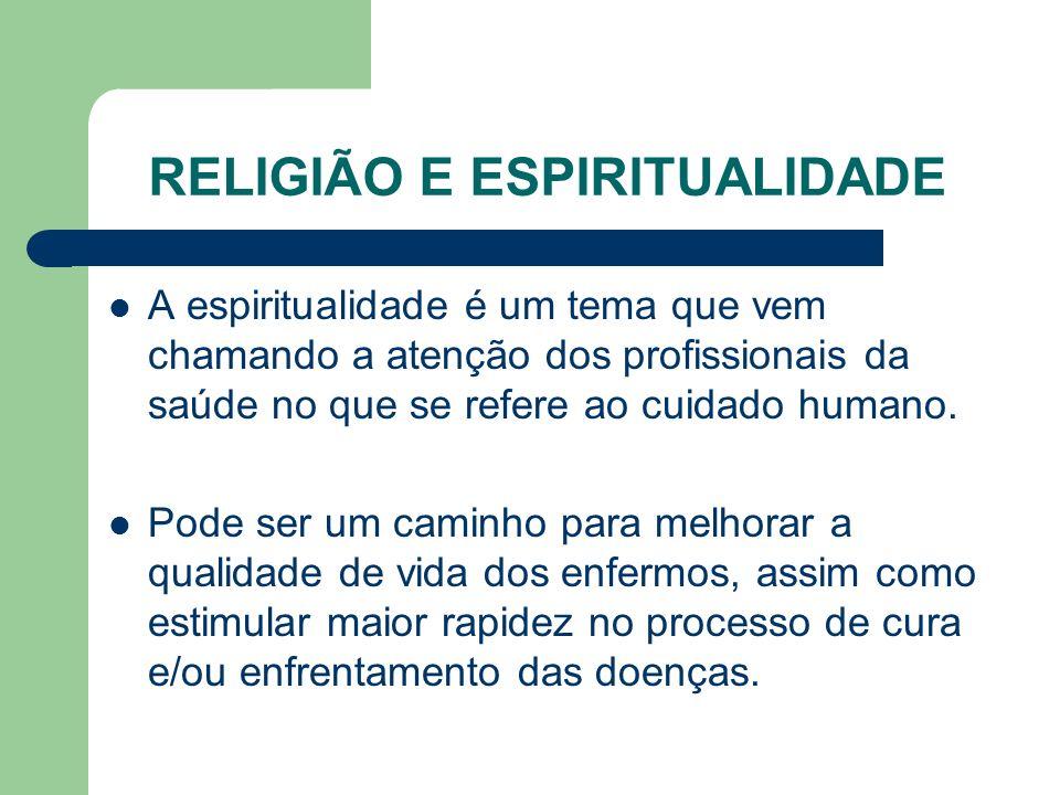 RELIGIÃO E ESPIRITUALIDADE A espiritualidade é um tema que vem chamando a atenção dos profissionais da saúde no que se refere ao cuidado humano.