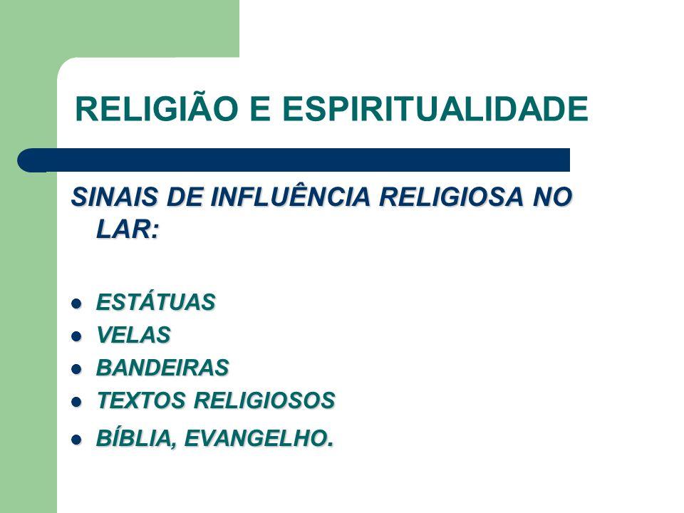 RELIGIÃO E ESPIRITUALIDADE SINAIS DE INFLUÊNCIA RELIGIOSA NO LAR: ESTÁTUAS ESTÁTUAS VELAS VELAS BANDEIRAS BANDEIRAS TEXTOS RELIGIOSOS TEXTOS RELIGIOSOS BÍBLIA, EVANGELHO.