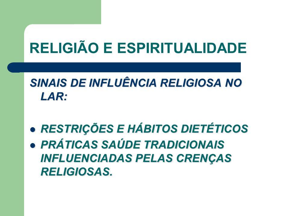 RELIGIÃO E ESPIRITUALIDADE SINAIS DE INFLUÊNCIA RELIGIOSA NO LAR: RESTRIÇÕES E HÁBITOS DIETÉTICOS RESTRIÇÕES E HÁBITOS DIETÉTICOS PRÁTICAS SAÚDE TRADICIONAIS INFLUENCIADAS PELAS CRENÇAS RELIGIOSAS.