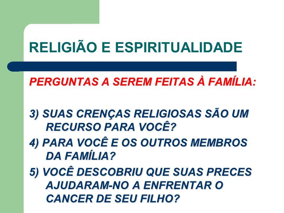 RELIGIÃO E ESPIRITUALIDADE PERGUNTAS A SEREM FEITAS À FAMÍLIA: 3) SUAS CRENÇAS RELIGIOSAS SÃO UM RECURSO PARA VOCÊ.