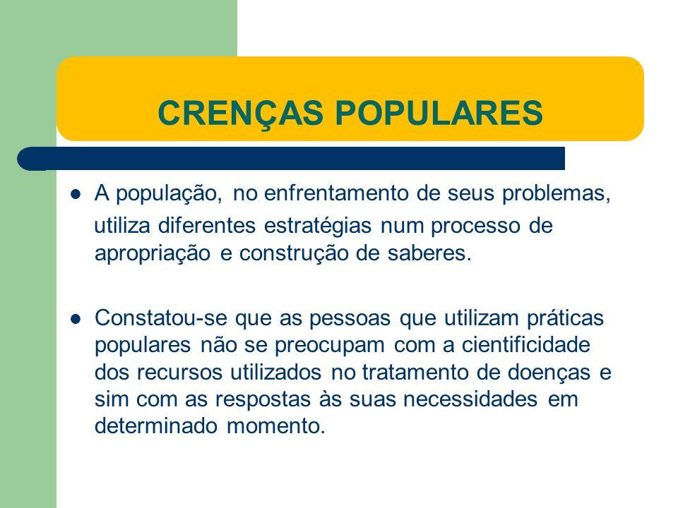 CRENÇAS POPULARES A população, no enfrentamento de seus problemas, utiliza diferentes estratégias num processo de apropriação e construção de saberes.