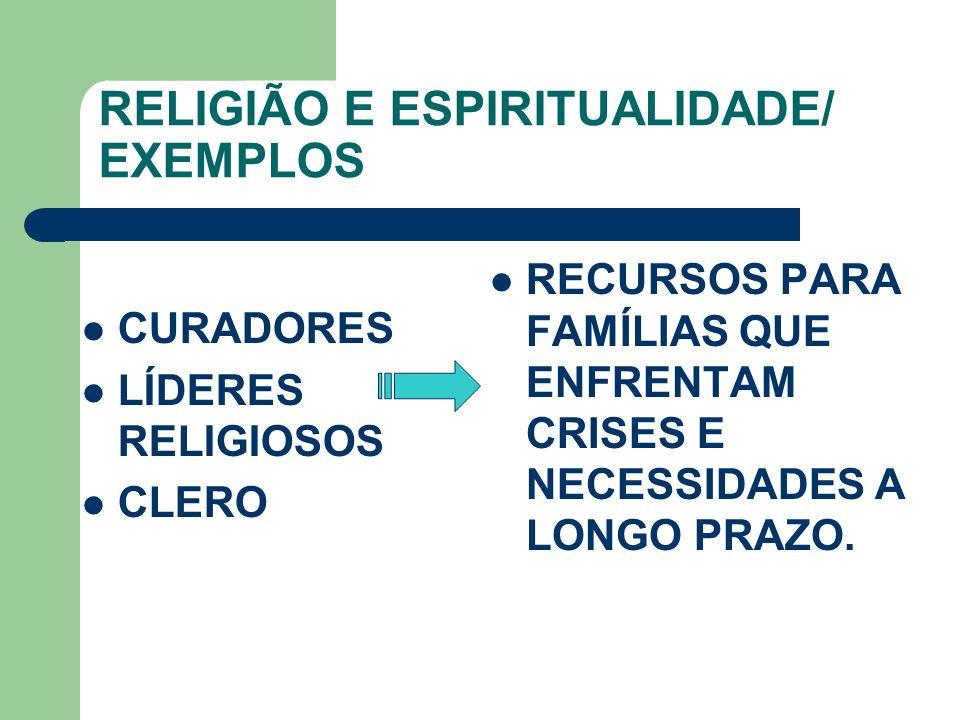 RELIGIÃO E ESPIRITUALIDADE/ EXEMPLOS CURADORES LÍDERES RELIGIOSOS CLERO RECURSOS PARA FAMÍLIAS QUE ENFRENTAM CRISES E NECESSIDADES A LONGO PRAZO.