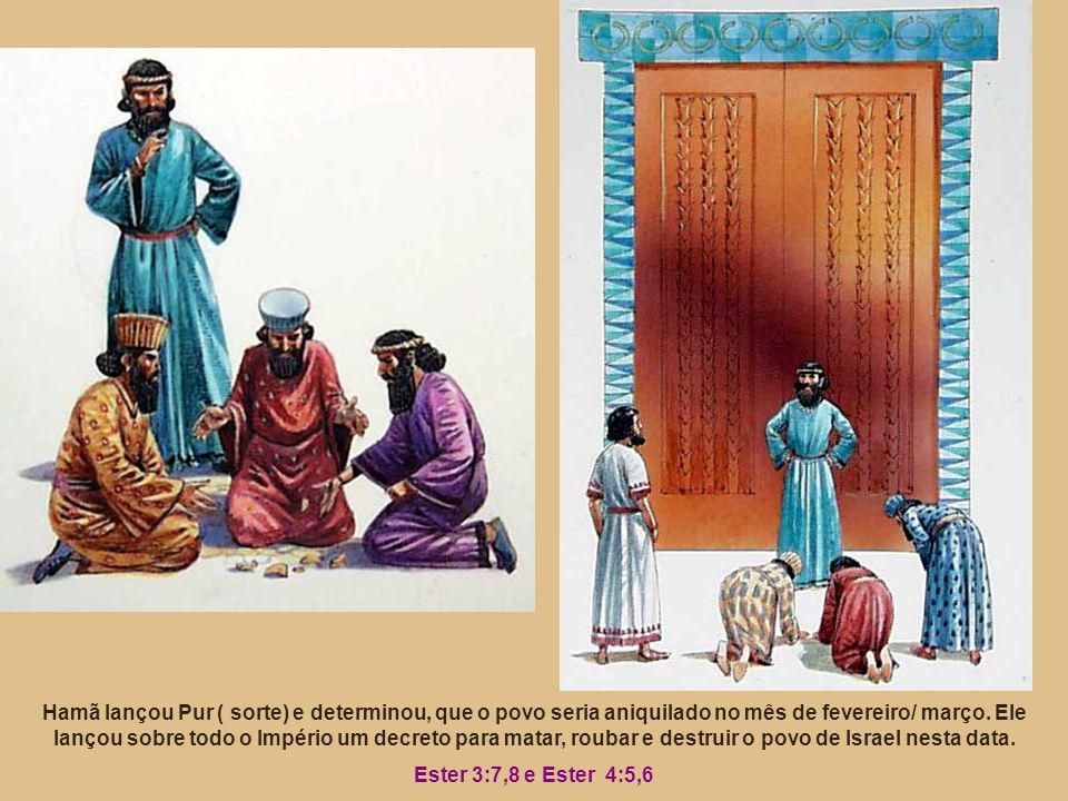Hamã lançou Pur ( sorte) e determinou, que o povo seria aniquilado no mês de fevereiro/ março. Ele lançou sobre todo o Império um decreto para matar,