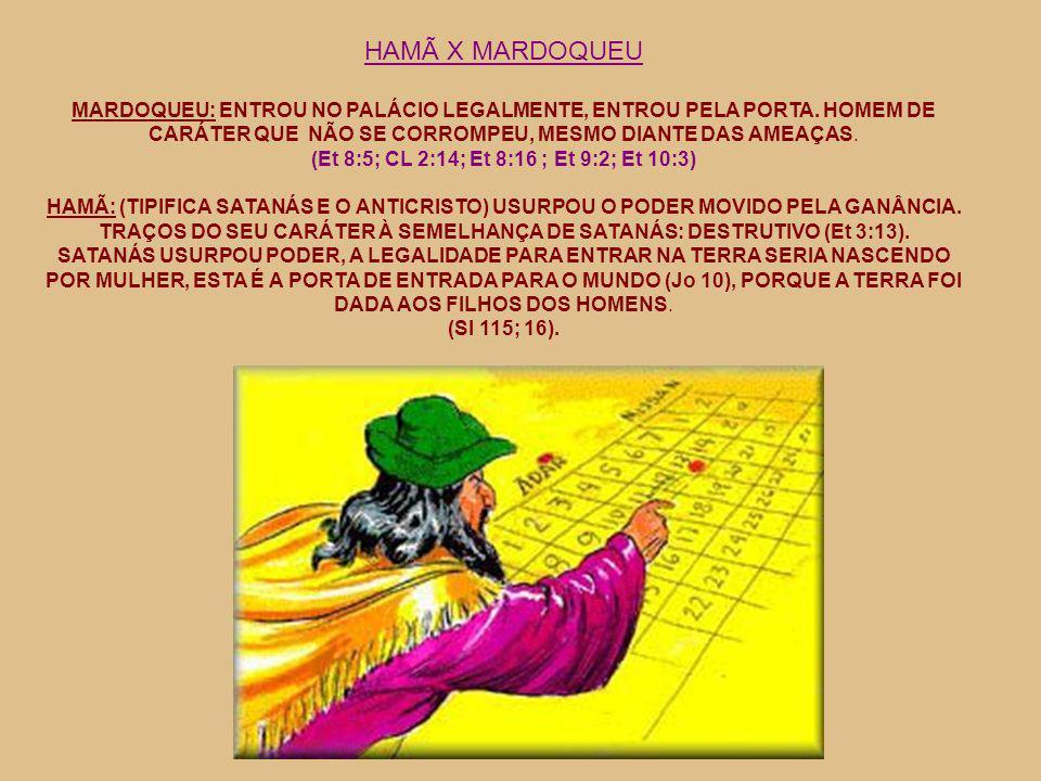HAMÃ X MARDOQUEU MARDOQUEU: ENTROU NO PALÁCIO LEGALMENTE, ENTROU PELA PORTA. HOMEM DE CARÁTER QUE NÃO SE CORROMPEU, MESMO DIANTE DAS AMEAÇAS. (Et 8:5;