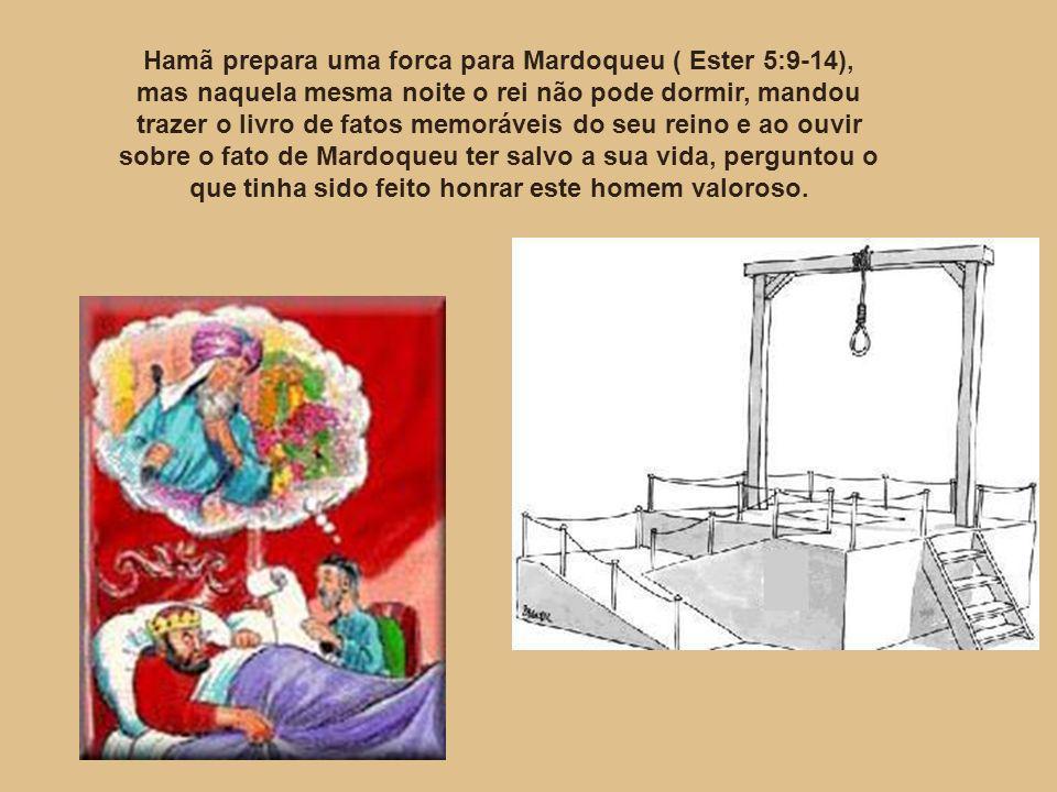 Hamã prepara uma forca para Mardoqueu ( Ester 5:9-14), mas naquela mesma noite o rei não pode dormir, mandou trazer o livro de fatos memoráveis do seu