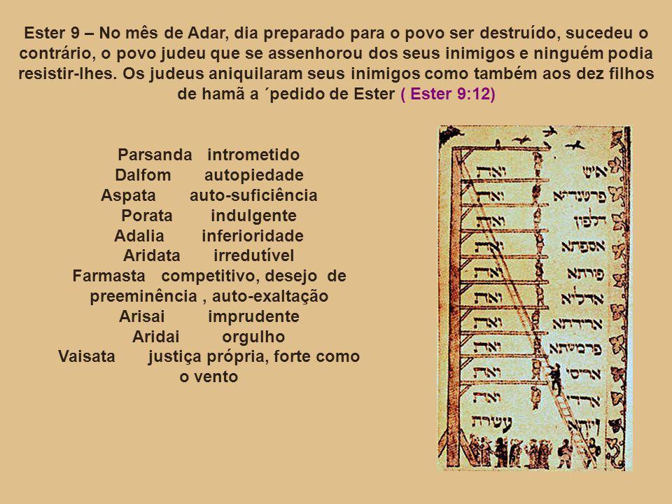 Ester 9 – No mês de Adar, dia preparado para o povo ser destruído, sucedeu o contrário, o povo judeu que se assenhorou dos seus inimigos e ninguém pod