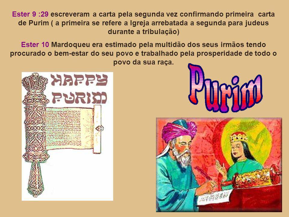 Ester 9 :29 escreveram a carta pela segunda vez confirmando primeira carta de Purim ( a primeira se refere a Igreja arrebatada a segunda para judeus d