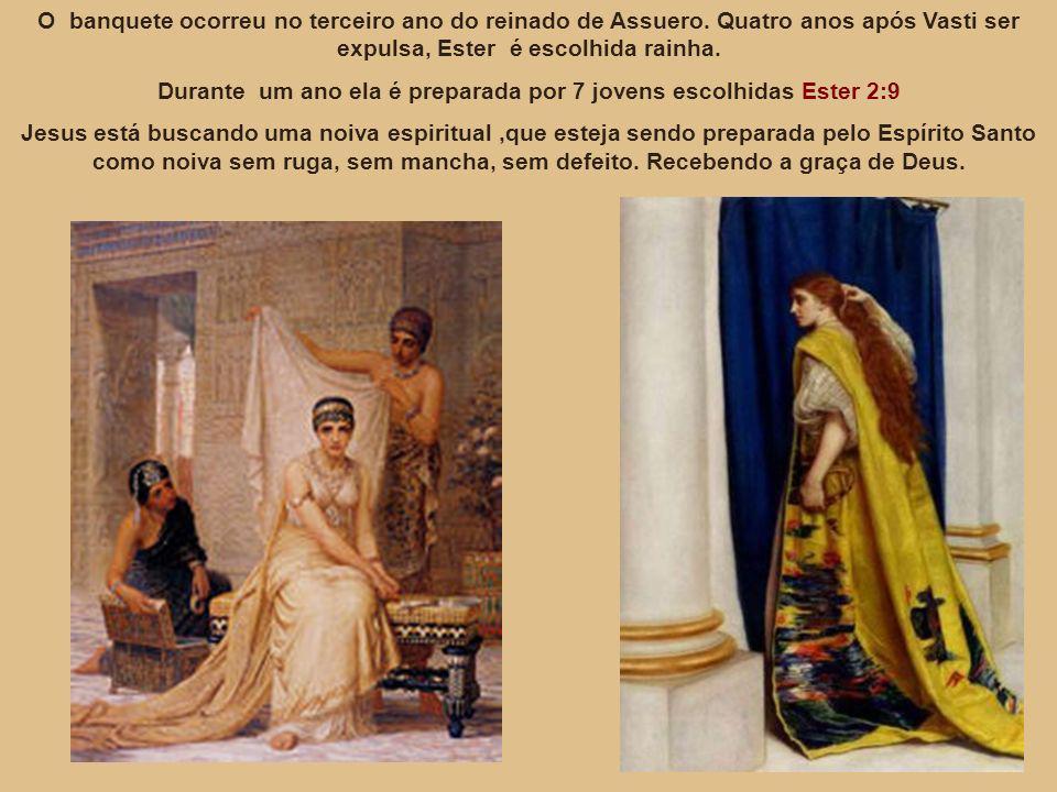 O banquete ocorreu no terceiro ano do reinado de Assuero. Quatro anos após Vasti ser expulsa, Ester é escolhida rainha. Durante um ano ela é preparada