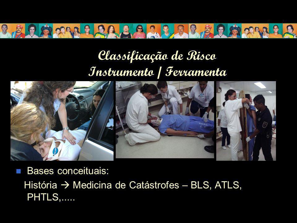 Classificação de Risco Instrumento / Ferramenta Bases conceituais: História Medicina de Catástrofes – BLS, ATLS, PHTLS,.....