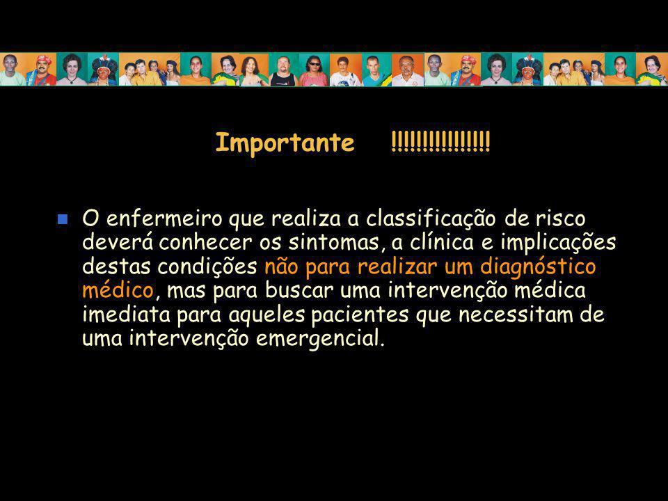Importante !!!!!!!!!!!!!!!! O enfermeiro que realiza a classificação de risco deverá conhecer os sintomas, a clínica e implicações destas condições nã