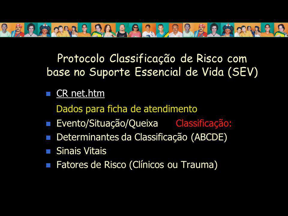 Protocolo Classificação de Risco com base no Suporte Essencial de Vida (SEV) CR net.htm Dados para ficha de atendimento Evento/Situação/Queixa Classif