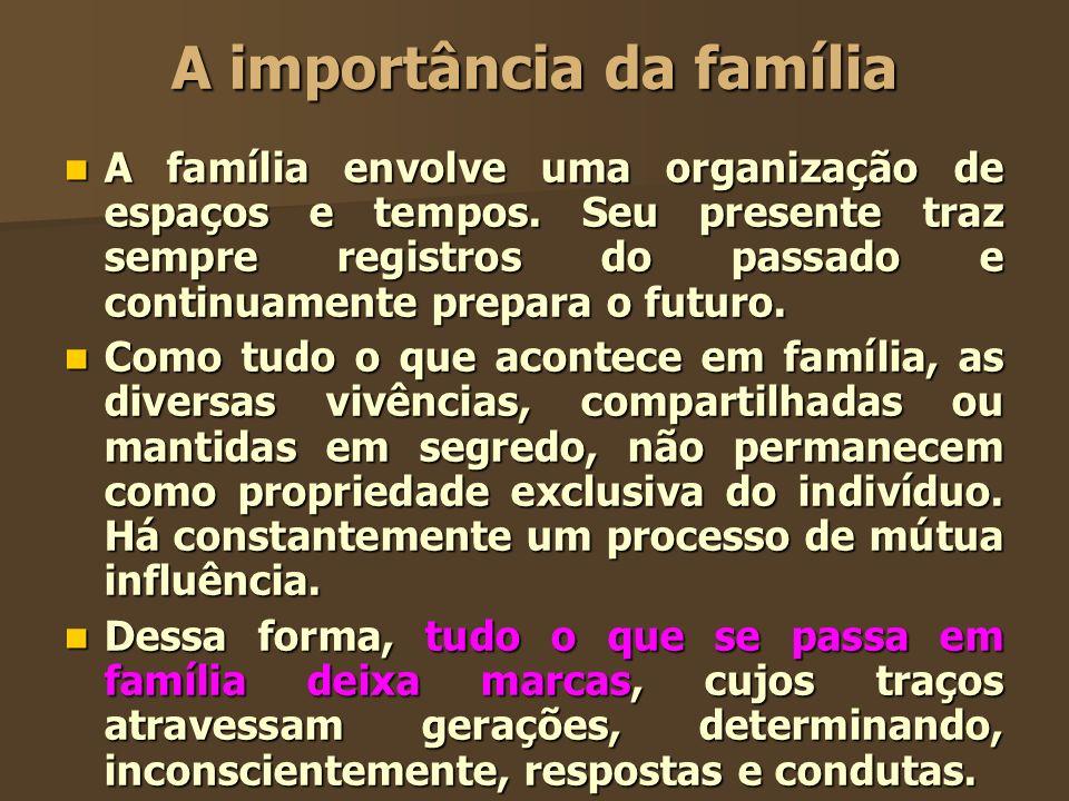 A importância da família A família envolve uma organização de espaços e tempos. Seu presente traz sempre registros do passado e continuamente prepara